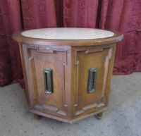 OCTAGON SHAPED DRUM SIDE TABLE WITH  MARBLE TOP