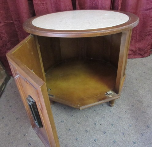 ... OCTAGON SHAPED DRUM SIDE TABLE WITH MARBLE TOP ...