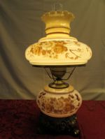 "GORGEOUS 21.5"" HAND PAINTED HURRICANE STYLE LAMP"