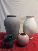 ASSORTMENT OF PRETTY CERAMIC VASES  & HANDMADE POTTERY PITCHER