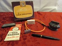 UNIQUE VINTAGE ITEMS - GAG GIFT- BROWNIE GAS SHAVER, SILVER PLATED LIGHTER, NIB FOUNTAIN PEN  & HARMONICA