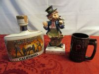 "VINTAGE COLLECTABLES - HOBO DESK CADDY,  WHISKEY BOTTLE & ""LEAVE THIS DRINK ALONE"" WHISTLE COFFEE CUP"