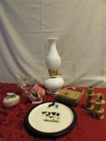 HOBNAIL MILK GLASS HURRICANE LAMP, KEEPSAKE BOXES, STONE CANDLE HOLDERS, CANDY DISH & . . . . .