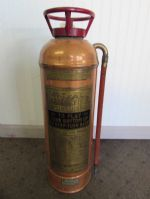 "VINTAGE ""THE BUFFALO"" COPPER WITH BRASS PLATE FIRE EXTINGUISHER"