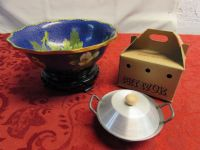 STUNNING CLOISONNE BOWL WITH STAND & PET WOK
