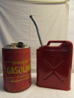 FILL ER UP! VINTAGE METAL 6.5 GALLON GAS CAN & JERRY CAN