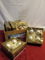 RETRO WOODEN CRATE FULL OF VICTORIAN  CHRISTMAS ORNAMENTS