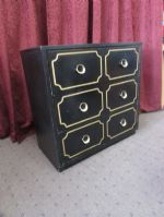 MATCHING BLACK & GOLD LACQUERED WOOD 3 DRAWER DRESSER