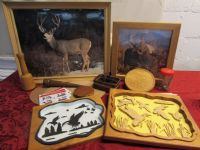 THE GREAT OUTDOORS!  FABULOUS WOODWORK & FRAMED WILDLIFE PICTURES