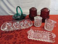 ANTIQUE RUBY GLASS FAIRY LAMP/CANDLE HOLDERS, TEAL JD GLASS BASKET, CRYSTAL CREAM & SUGAR & MORE