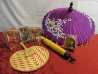 LOVELY JAPANESE COLLECTABLES!  MID-CENTURY DOLLS & PARASOLS