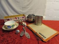 BETTY CROCKER WOULD BE JEALOUS! MIXING BOWLS, VINTAGE MEASURING SIFTER & MORE