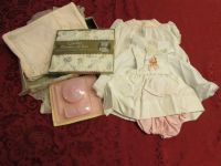 SWEET VINTAGE BABY ITEMS, CLOTHES & BLANKET