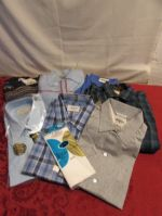 HIGH QUALITY & NEVER WORN MENS SWEATERS, DRESS SHIRTS, FLANNEL & HANKERCHIEFS