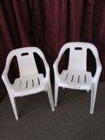 RELAX ON THE PATIO IN THESE 2 DELUXE STACKING ARM CHAIRS