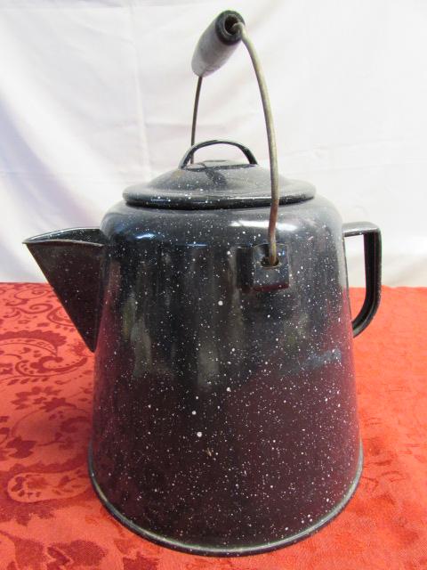 Cowboy Coffee Pot Vintage Oversized Enamel Ware Kettle