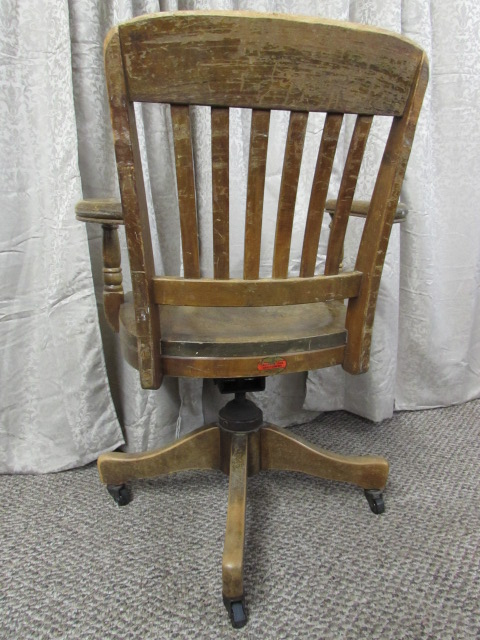 ANTIQUE WOODEN OFFICE CHAIR By B.L. MARBLE CHAIR CO.