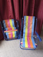 TWO STEEL FRAME FOLDING BEACH/LAWN CHAIRS