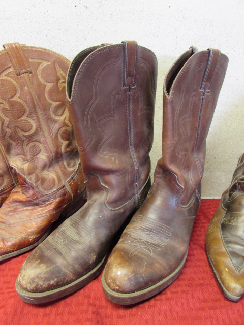 Lot Detail - THREE PAIR OF WELL WORN VINTAGE LEATHER COWBOY BOOTS