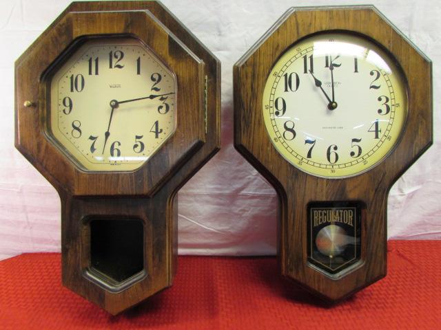 Lot Detail   TWO VINTAGE WOOD VERICHRON SCHOOLHOUSE WALL CLOCKS