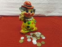 VINTAGE CLOWN COIN BANK & COINS FROM AROUND THE WORLD