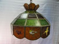 VINTAGE STAINED GLASS HANGING SWAG LAMP