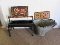 VINTAGE NEWSPAPER ROLLER SHOE SHINE BOX SCUTTLE BUCKET & LICENSE PLATE