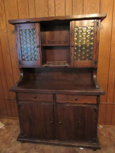 Attractive Sy Vintage Solid Wood Hutch With Decorative Gl Doors