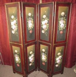 GORGEOUS HANDPAINTED FLORAL 4 SECTION WOOD ROOM DIVIDER/FOLDING SCREEN