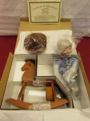 HERITAGE SIGNATURE COLLECTION PORCELAIN DOLL - TEX ON HIS ROCKING HORSE - NIB