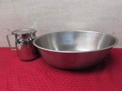 U.S. MILITARY HOSPITAL GRADE STAINLESS STEEL WASH BASIN & WATER PITCHER