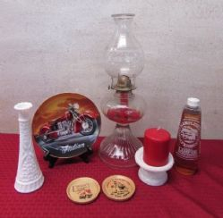 HARLEY INDIAN BIKE PLATE, TALL VINTAGE HURRICANE LAMP & OIL, FUNNY WOODEN COASTERS & MORE