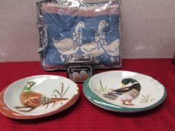 EVERYTHING DUCKY, 1950S ASHTRAYS, NEW DUCK THROW & SALT & PEPPER SHAKERS