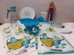 TODAYS COLOR WITH YESTERYEARS QUALITY, MURANO GLASS, LINEN TOWELS & APRON & MORE