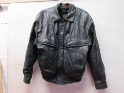 MENS PHASE 3 BLACK LEATHER  (MOTORCYCLE) JACKET WITH ZIP IN LINER  NICE!!