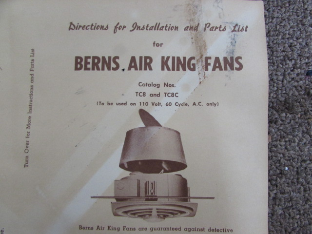 BERNS AIR KING BATHROOM EXHAUST FAN. Lot Detail   BERNS AIR KING BATHROOM EXHAUST FAN