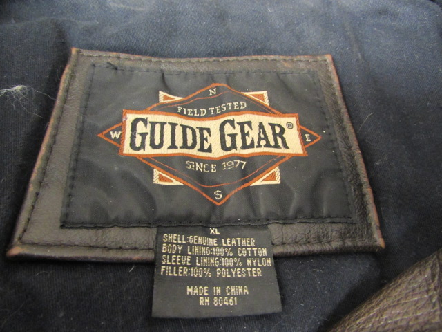 Lot Detail - MEN'S XL GUIDE GEAR LEATHER BOMBER JACKET