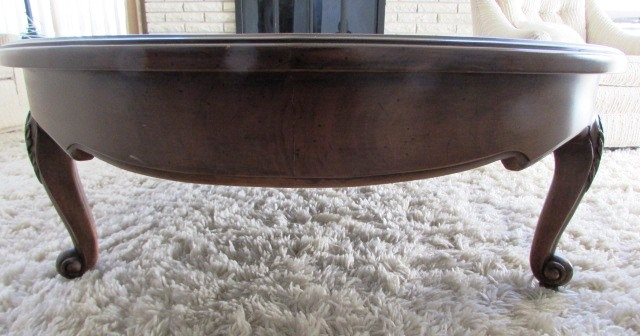 Lot Detail Gorgeous High Quality Oval Wood Coffee Table With Carved Legs