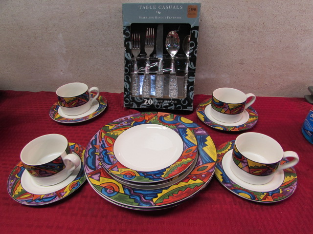 Lot Detail - COLORFUL AZTEC STYLE DISHWARE & NEW SPARKLING ... |Sparkling Silverware