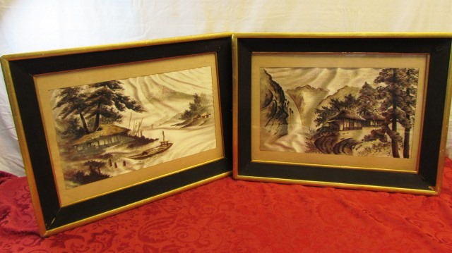 Lot Detail Amazing Pair Of Framed Japanese Silk Embroidered Wall Art