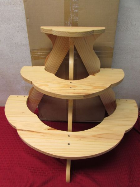 Lot Detail Two New 3 Tiered Plant Wooden Plant Knick Stands