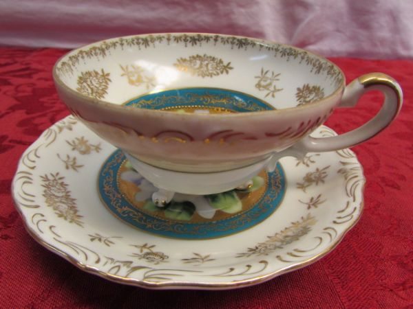 THREE ELEGANT VINTAGE TEA CUPS WITH SAUCERS & TWO CHINA COASTERS