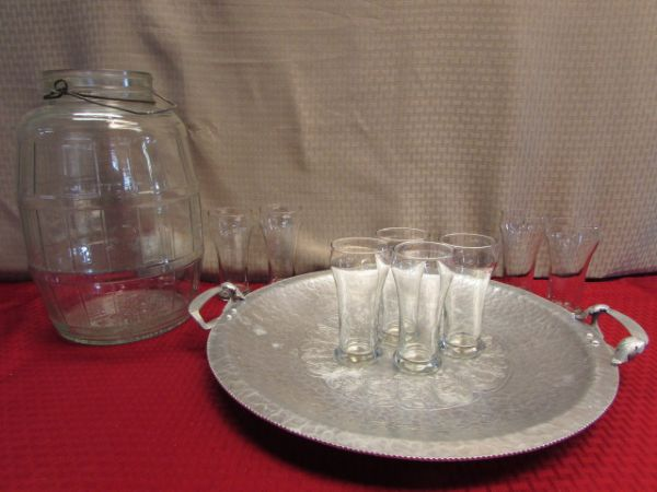 LARGE CLEAR GLASS  PICKLE JUG, ENGRAVED HAMMERED ALUMINUM TRAY & DRINKING GLASSES