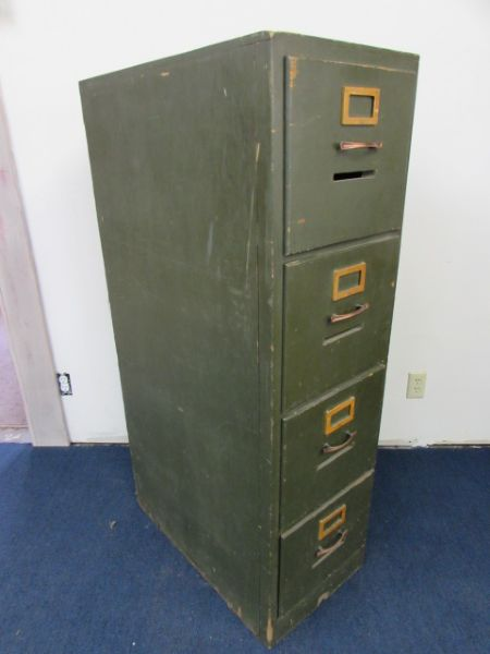 WAITING TO GO SHABBY CHIC VINTAGE 4  DRAWER WOOD FILE CABINET