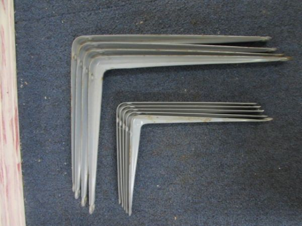 NINE METAL SHELF BRACKETS