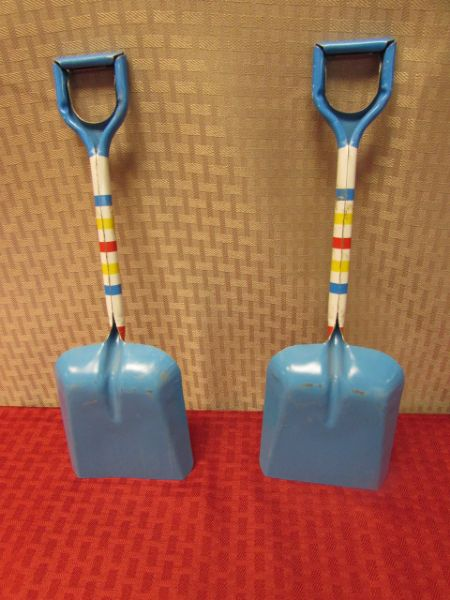 TWO 1940-1950'S METAL CHILDS SAND SHOVELS