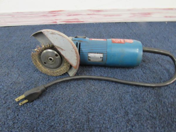 HEAVY DUTY  1/2 DRILL, BOSCH 4 1/2 GRINDER & A SELECTION OF BITS