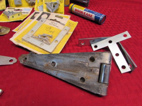 LOADS OF DOOR HARDWARE NEW & PRE OWNED, LOTS OF STANLEY - HINGES, BOLTS, CORNER BRACES & MORE