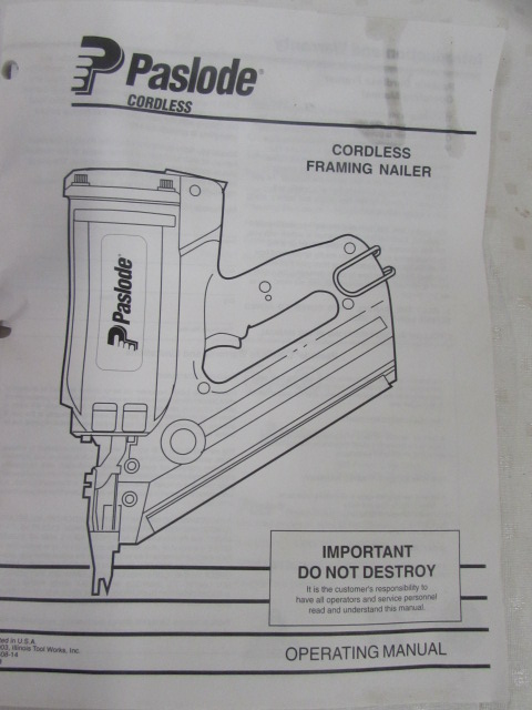 Lot Detail Paslode Impulse Cordless Framing Nailer