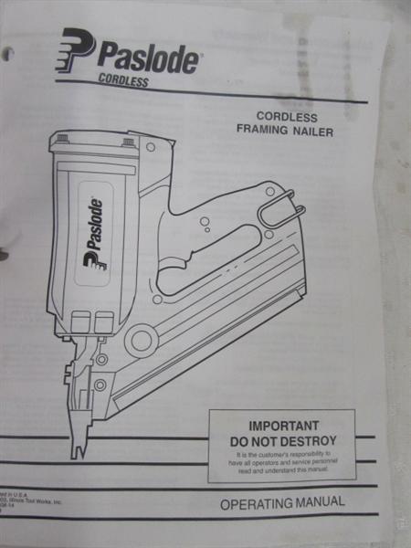 Lot Detail Paslode Impulse Cordless Framing Nailer